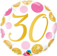 "30 Birthday Pink & Gold Dots Foil Balloon (18"") 1pc"